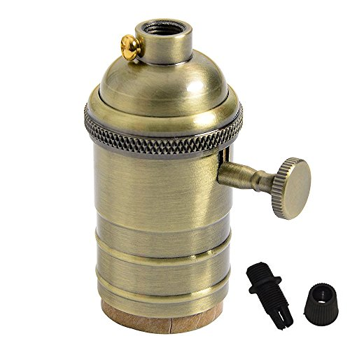 Splink Vintage Support pour Ampoule E27 Douille Culot de Lampe Avec Interrupteur en Cuivre Laiton Couleur Bronze