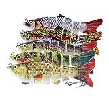 Yokawe Señuelo de pesca para bajo 6/8, segmentos T, cola de pescado, natación, señuelo de agua dulce flexible, multieslabones, cebo de agua dulce realista, juego de 6 secciones #