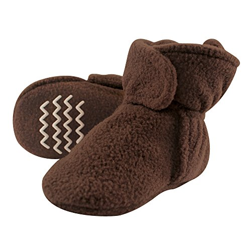 Hudson Baby Unisex Cozy Fleece Booties, Brown, 0-6 Months