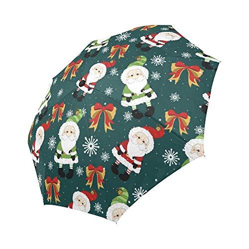Windproof Travel Folding Umbrella Auto Open and Close for Women Men Christmas Santa Claus, Green