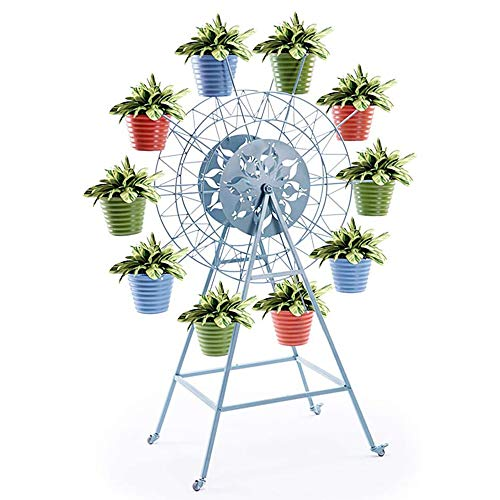 BJYXSZD Rotatable Windmill Flower Stand Indoor Outdoor Plant Rack Iron Ten Flower Pots Garden, with Four Wheels, Can Be Removable Or Fixed
