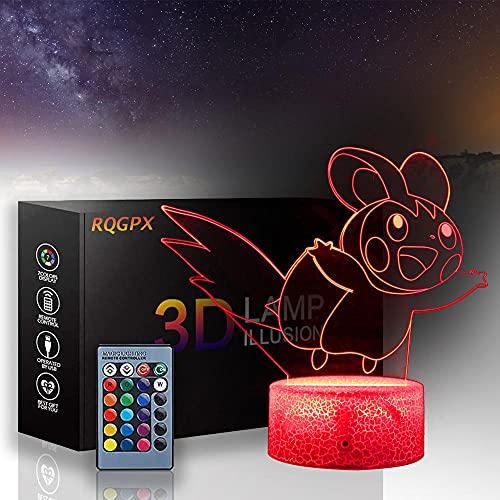Pokemon 3D LED noche luz emolga ilusión lámpara tres patrones y 16 cambio de color decoración lámpara para niños y habitación decoración