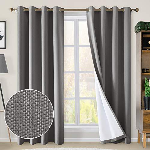 HOMEIDEAS Linen Blackout Curtains 52 x 84 Inches Long 100%