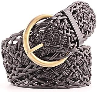 SGJFZD Spring and Summer New Pikang Paper Woven Belt Ladies Belt Fashionable Decorative Wide Belt (Color : Black)