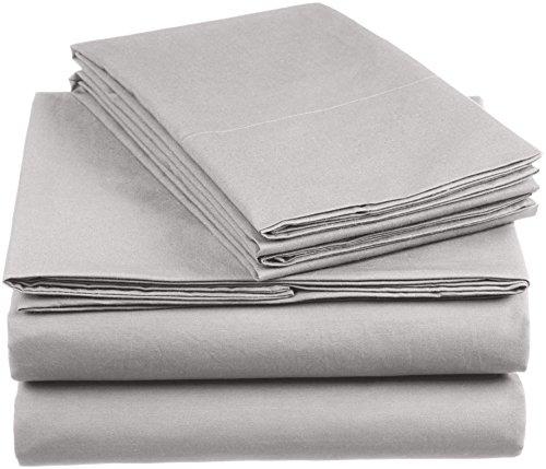 AmazonBasics 'Everyday' Bettwäscheset aus 100% Baumwolle, Hellgrau 135x200 cm & 1 Kissenbezug 80x80 cm
