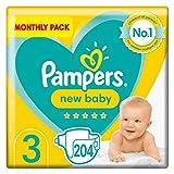 Pampers Couches bébé taille 3, 204, protection pour peau sensible du nouveau-né (6-10 kg)