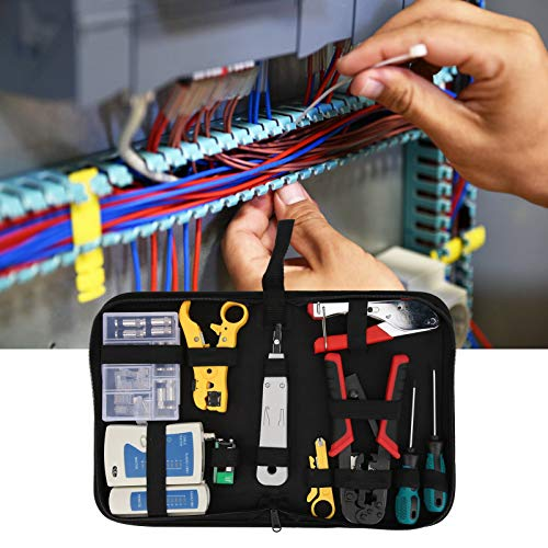 Ausla Herramienta de Mantenimiento de reparación de Cables de Red, Kit de Herramientas de Mantenimiento de probador de Cables de plástico + Metal, para RJ11 RJ45 Cat5 Cat6, etc.