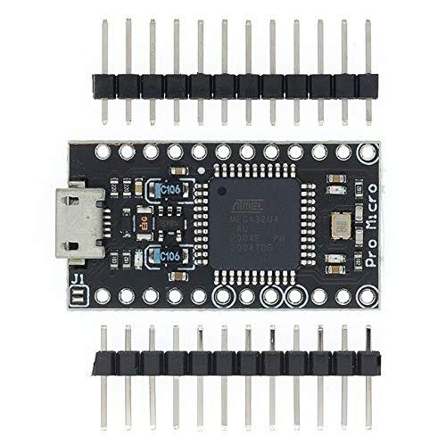 KEKEYANG Pro Micro ATMETE32U4 5V / 16MHz Módulo con el Cargador de Arranque para FOR Arduino Mini USB/Micro USB con encabezado Pin de 2 Filas para FOR Arduino Placa Controladora