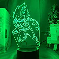 3DランプドラゴンボールベジータIVフィギュアLEDカラーチェンジナイトライトアニメルームデコレーションクールギフトキッズベッドルームナイトライト-16色リモコン付き