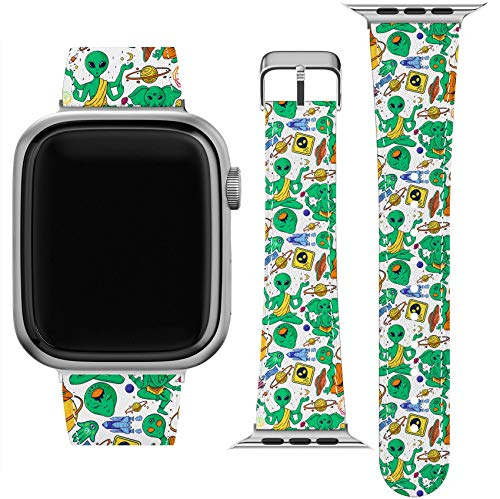 Lex Altern Band Compatible with Apple Watch Series 6 SE 5 4 3 2 1 38mm 40mm 42mm 44mm Green Aliens Zen Buddha Space Print Meditation Vegan Leather Durable UFO Wristband Replacement Strap Belt wh402