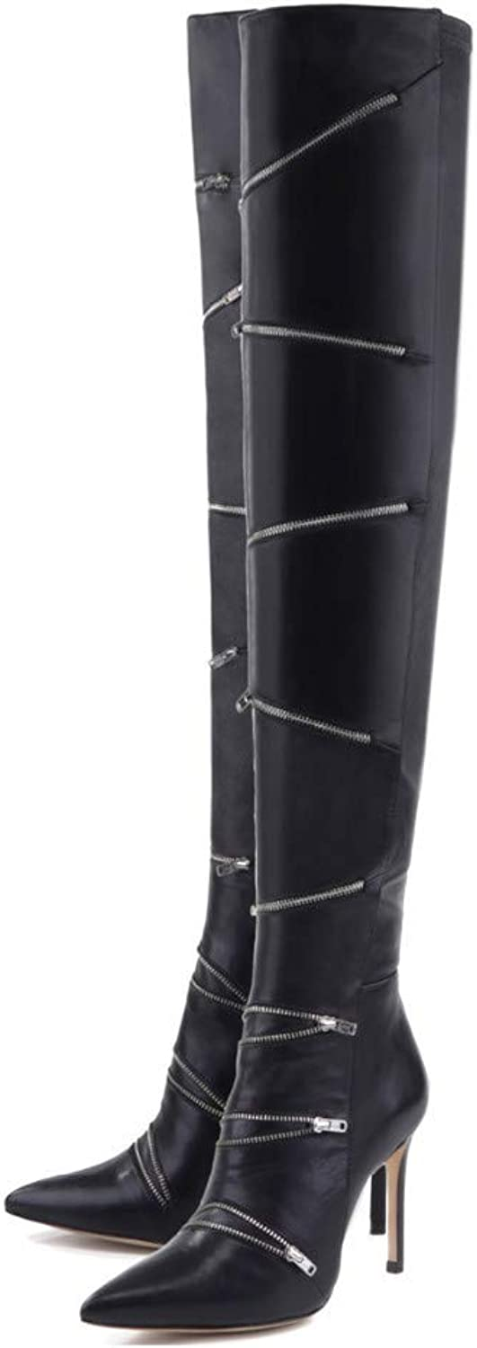 GONGFF Women's Zipper Trim Black Stiletto Pointed Toe Knee Boots Large Size Boots