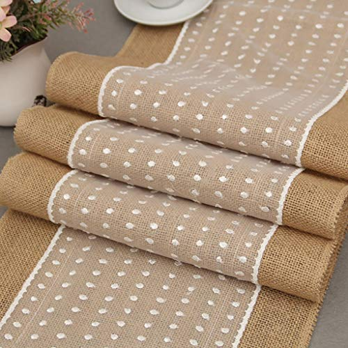 ZZFF Rustic Burlap Lace Table Runner,Natural Jute Hessian Wedding Table Runner for Farmhouse Party Christmas Dining Table Cover Decor