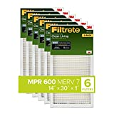 Filtrete 14x30x1, AC Furnace Air Filter, MPR 600, Clean Living Dust Reduction, 6-Pack (exact dimensions 13.81 x 29.81 x 0.81)