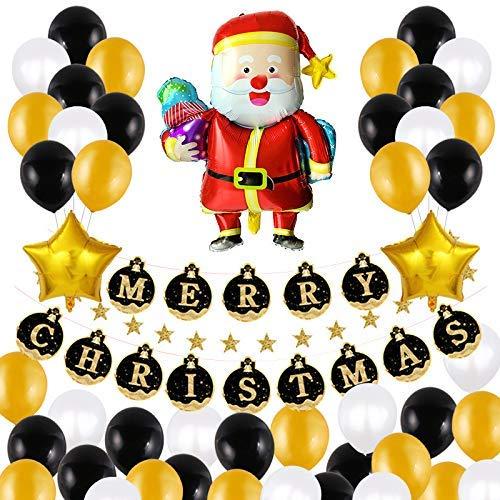 46-set met vrolijke kerstballonnen decoratie, kerstman en vijfpuntige ster aluminiumfilmballon, Merry Christmas brief pull-vlag, latex en kleurrijke confetti ballonnen Elise