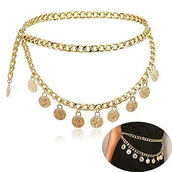 Jurxy Alloy Waist Chain Body Chain for Women Waist Belt Coin Tassel Pendant Belly Chain Adjustable Body Harness for Jeans Dresses – Gold Style 8