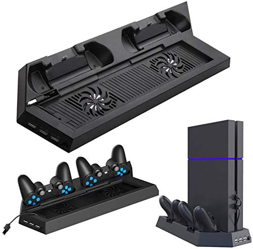 EEEKit Cooling Fan for PS4, USB External Cooler 5 Fan Turbo Temperature Control Cooling Fans for Sony Playstation 4 Gaming Console