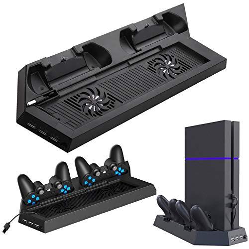 EEEKit Vertikaler Ständer mit Lüfter für Sony PS4, PS4 Standfuß mit Dual Controller Ladestation, PS4 Konsole Halterung mit USB Hub Kühlstation