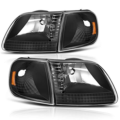 DWVO Headlight Assembly Compatible with 1997-2003 Ford F-150 Pickup / 1997-2002 Ford Expedition Headlamp with Corner Light, Black Housing Amber Reflector