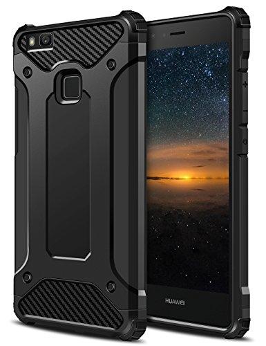 Huawei P9 Lite Hülle, Coolden Premium [Armor Serie] Outdoor Stoßfest Handyhülle Silikon TPU + PC Bumper Cover Doppelschichter Schutz Hülle für Huawei P9 Lite (Schwarz)