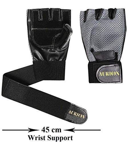 Aurion GLOVE-1313-grey- Anti-Slip Weight Lifting Gloves for Men & Women (Grey)