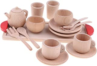 Flameer Durable Wooden Kids Pretend Play Tea Set,Safe and BPA Free for Childrens Tea Party and Fun with Tea Cups, Kettles, Saucers, Spoons