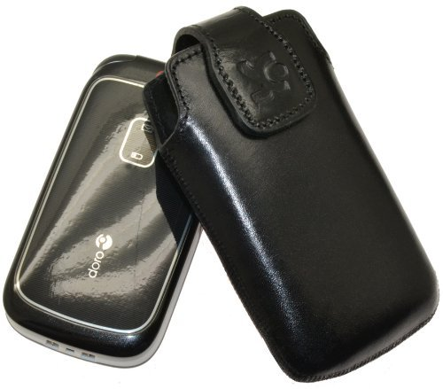 Original Suncase Tasche für / Doro PhoneEasy 613 / Leder Etui Handytasche Ledertasche Schutzhülle Hülle Hülle / in schwarz