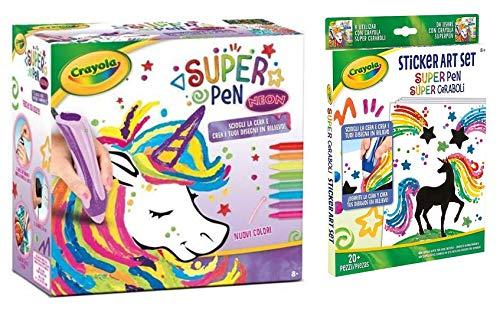 Crayola. Super Pen Effetti Metallizzati '' Neon '' Unicorno SCIOGLI LA Cera E Crea I Tuoi Disegni Regalo Bimbo Bimba + Stiker Art Set Ricarica + portachiave girabrilla