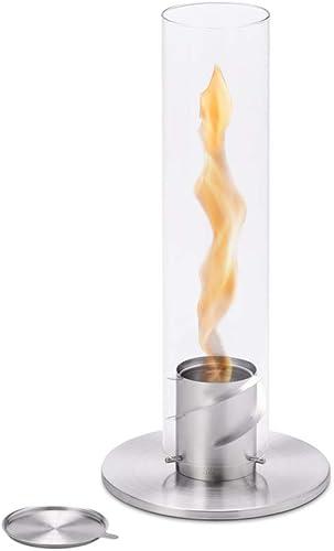 höfats - Spin 90 Argent avec boîte de Recharge en Acier Inoxydable - cheminée au bioéthanol pour intérieur et extérie...
