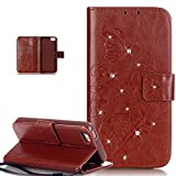 iPhone SE Case,iPhone 5S Case,iPhone 5 Case,ikasus Bing Glitter Diamond Embossing Flower Vine Butterfly PU Leather Flip Wallet Pouch Stand Credit Card ID Holders Case Cover for iPhone SE 5S 5,Brown