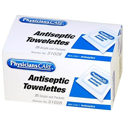 PhysiciansCare First Aid Antiseptic Towelettes, Box of 25 Individually Wrapped by PhysiciansCare