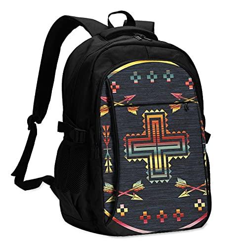 Mochilas para portátil con USB Tribal Arrow Geometría África Circular Mochila de viaje College School Business Notebook Bag Negro