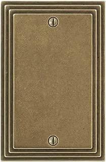 Amerelle Steps Single Blank Cast Metal Wallplate in Rustic Brass