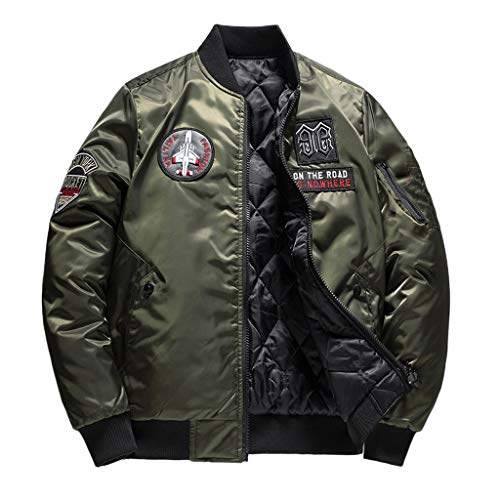 Floweworld Herren Winter Warme Bomberjacke Lässige Mode Reine Farbe Jacke Beidseitig Tragen Reißverschluss Outwear Mantel