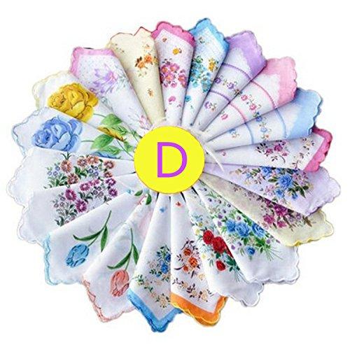 Dillian Womens Vintage Floral Wedding Party Cotton Handkerchiefs