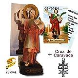 Heraldys.- Figura San Pancracio Pintada a Mano 20 cms. + Estampa de Regalo. También de Regalo estampas de San Expedito, San Judas Tadeo y San Miguel.