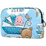 Bolsa de cosméticos de viaje de doble capa, bolsa de almacenamiento grande, cochecito de bebé, azul, gris y blanco