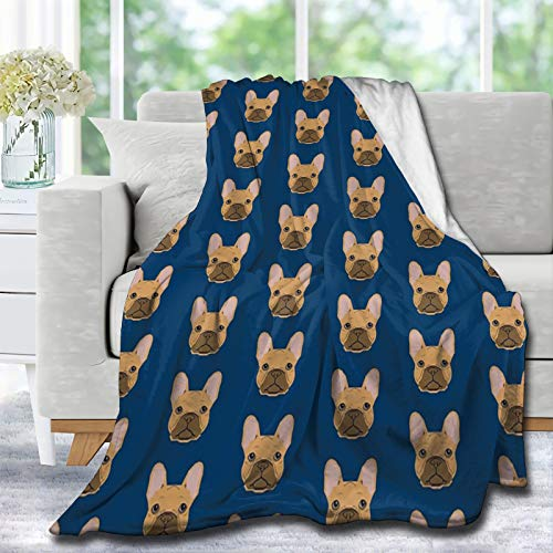 Lynnezilla French Bulldog Fawn Coat Dog Head Cute Pet Throw Blanket Ultra Soft Blankets Durable Home Decor Perfect for Couch Sofa Bed Decor Gift Idea L - Large 80X60 in for Adults