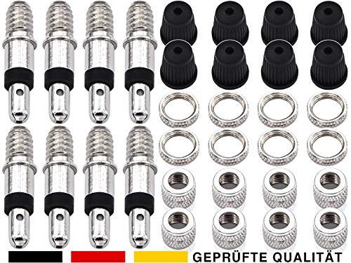 ANYKING 32-Teile Fahrrad-Ventile komplett-Set: 8X Fahrradventile (Dunlopventil/Blitzventil BV) + Ventil-Kappen + Muttern für Standard Normal-Ventil NV DV Puky Fahrradschlauch Reifen-Ventile