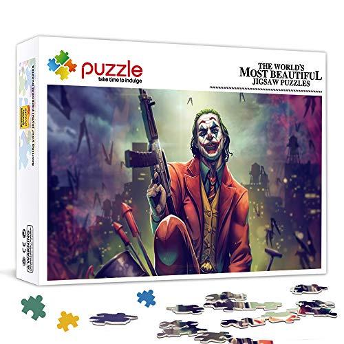 Rompecabezas de 300 piezas para niños, adultos, Joker con pistolas, superhéroes en películas, rompecabezas de juguete, juegos familiares, regalos para familiares o amigos, 38 x 26 cm