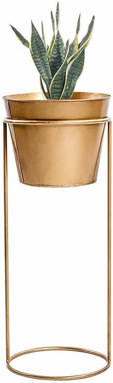 SYF Floor-Standing Living Room Indoor Herb Bonsai Shelf Display Flower Pot Holder Flower Pot Basin Frame Metal Balcony gold A+ (Size   S)