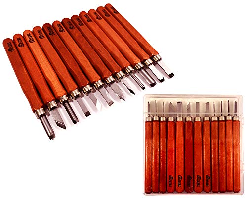 Premium Wood Carving Tools Kit - Durable High Carbon Stainless Steel Power Grip Carving Tool for Kids and Adults - Sculpting Knives for Carving Wood, Pumpkin & Soap - 12 Pieces
