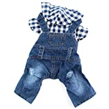 PETCARE Pet Dog Denim Jumpsuit Blue Jean Overalls Puppy Plaid Shirt Hoodies Boy Dog Clothes Summer Small Dogs Cats Costume Outfit