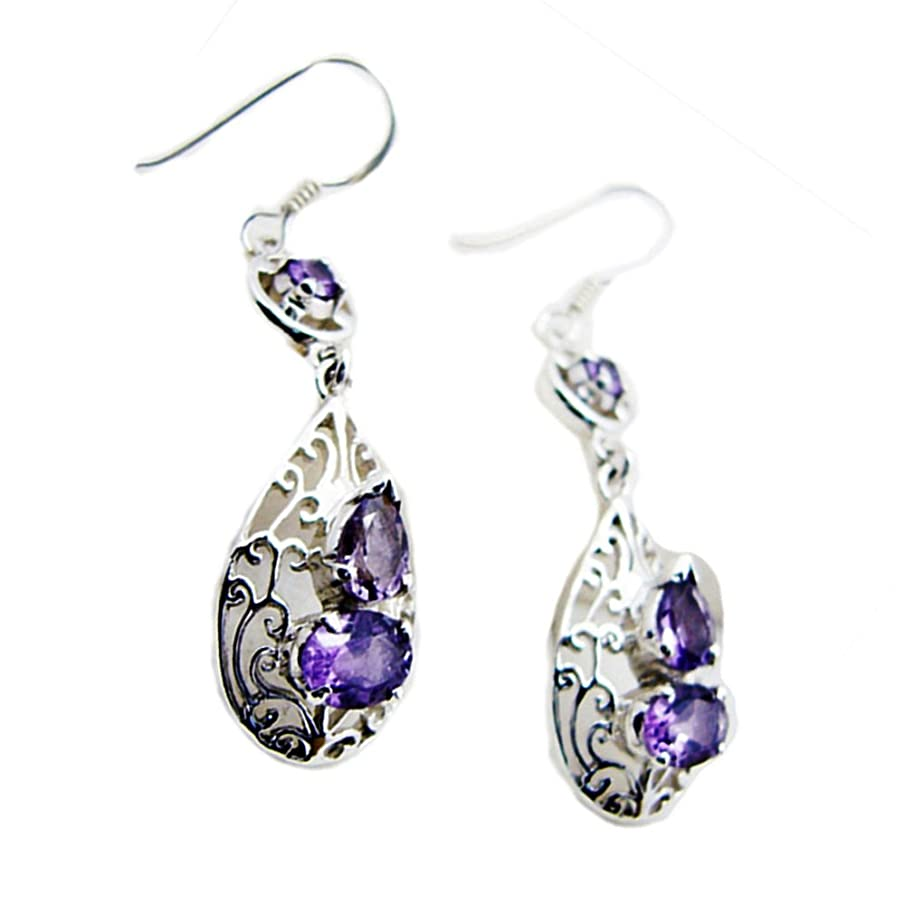 Victorian Purple Earrings Real Amethyst For Woman 925 Sterling Silver Jewelry Mixed Shape Chakra Healing