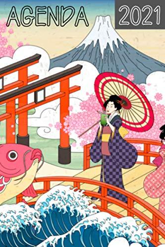 Agenda Japon: Agenda 2021 illustré sur le thème du Japon avec 2 jours par page pour y noter ses objectifs et tâches chaque jour, agenda japonais zen 2021. Une page de coloriage Japon entre chaque mois