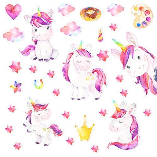 Precioso juego de unicornio grande para habitación de bebé, adhesivo de pared, juego de pegatinas para habitación infantil, 130 x 30 cm, muchos elementos para colocar en la pared, adhesivo multicolor