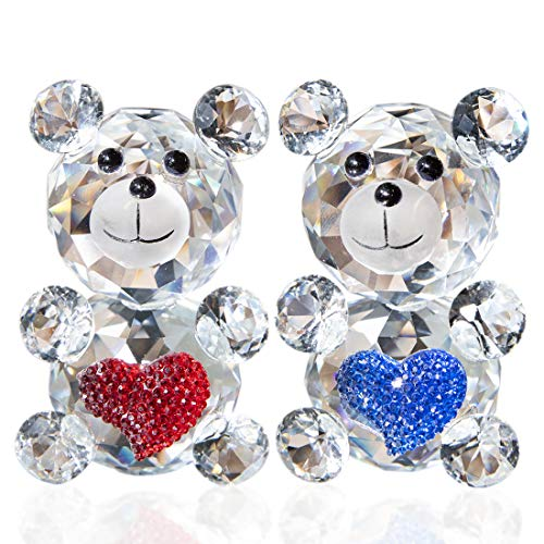H and D 2 Pieces Crystal Cut Love Animal Bear Crystal Ornament Collectible Figure (Red and Blue)