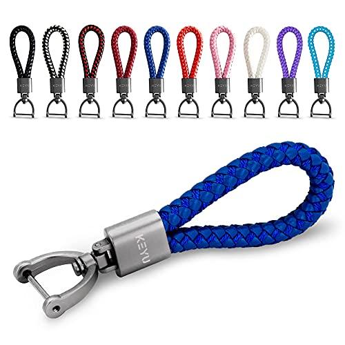 KEYU NEU Schlüsselanhänger im maritimen Look mit Kordel für Damen & Herren   Schlüsselband   Autoschlüsselanhänger   Lanyard mit Karabiner (Blau)