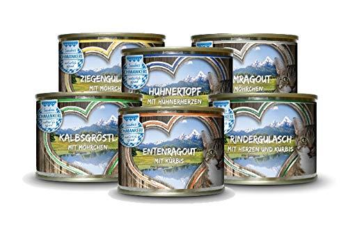 Sandras Schmankerl Nassfutter für Katzen Probierpakerl 6 x 200g. | getreidefrei | zuckerfrei | Monoprotein