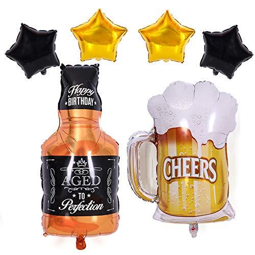 Botella de champán de aluminio verde y globos de helio para decoración de fiesta de cumpleaños, Cerveza