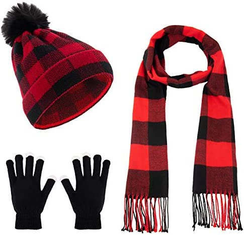 4pcs Buffalo Plaid Knitted Winter Warmer Set Knit Winter Beanie Hat with Pompom Ball Plaid Scarf product image